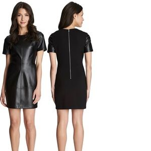 1. State black faux-leather dress